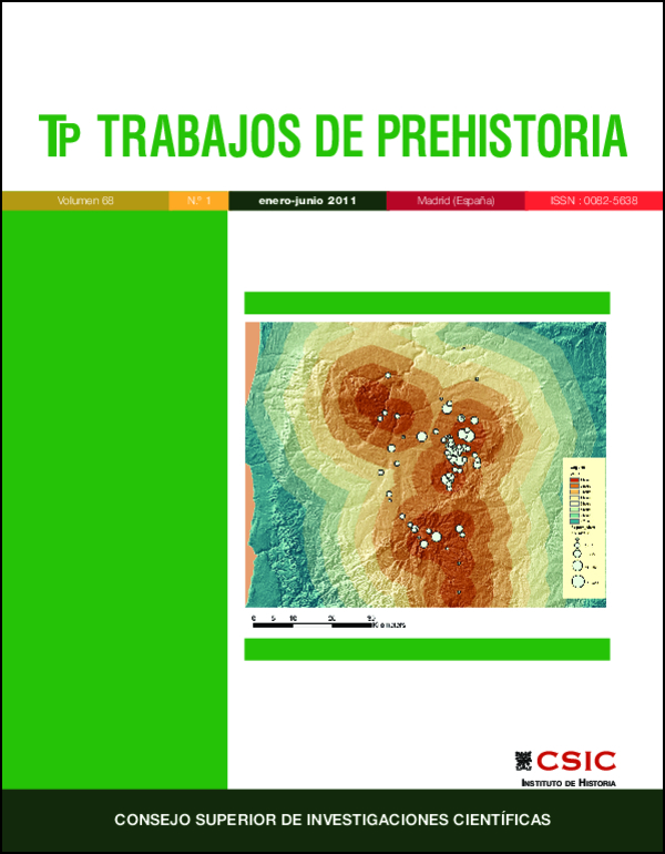 Ilustración de cubierta: Proyecto de prospección de la Cuenca del Río Sado (Alentejo meridional, Portugal). Mapa con la distancia a los recursos de jaspe (Burke et al., Fig. 12, p. 40).