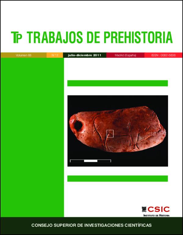 Ilustración de cubierta: Diente de cachalote perforado con bisonte grabado (cueva de Las Caldas, Asturias, España). Fotografía de Olivia Rivero. Trabajos de Prehistoria vol. 68, No. 2 (2011), p. 281.